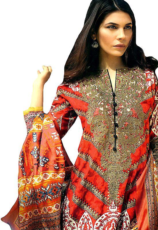 Paprika-Red Floral Printed Salwar Kameez Suit with Chiffon Dupatta