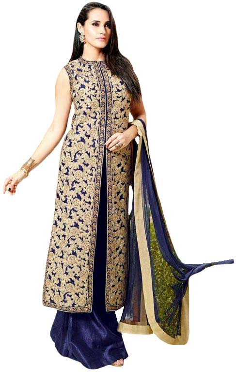 Patriot-Blue Long Palazzo Salwar Kameez Suit with All-Over Embroidery and Stone-work