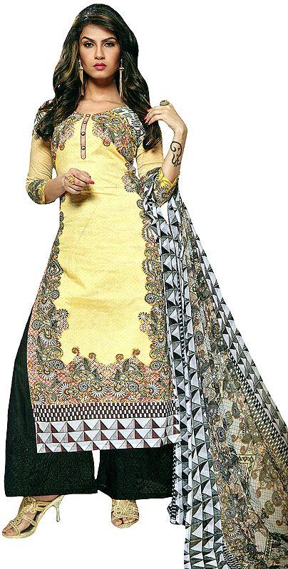 Cream and Black Printed Parallel Salwar Suit with Digital Printed Dupatta
