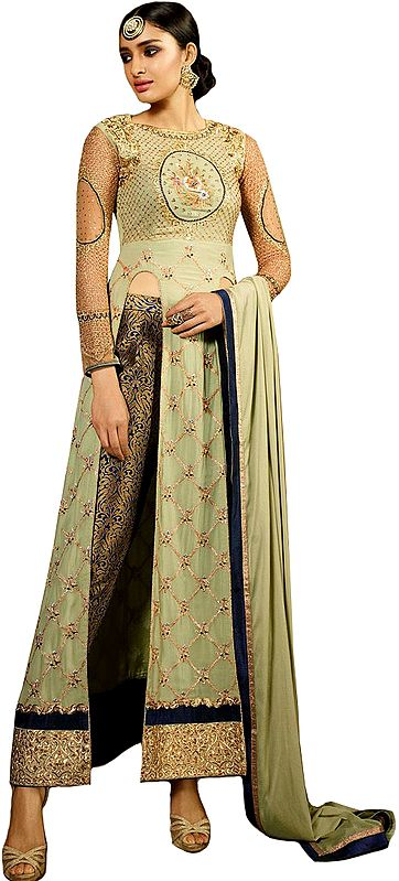 Seafoam-Green Long Parallel Salwar Suit with All-Over Zari Embroidery and Crystals