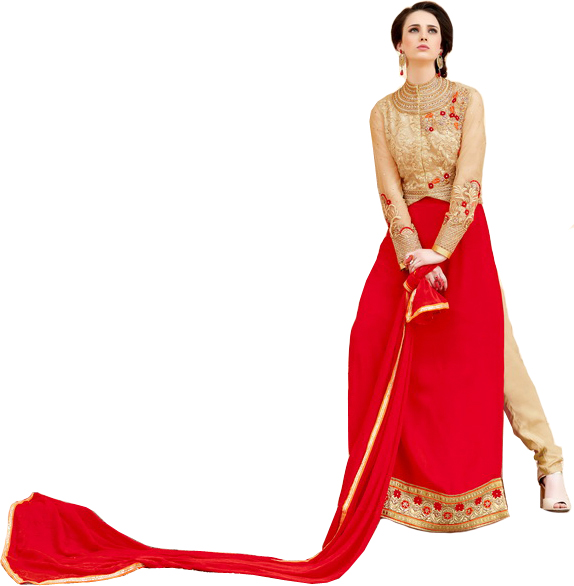 Golden and Red Wedding Long Choodidaar Kameez Suit with Embroidered Bolero Jacket