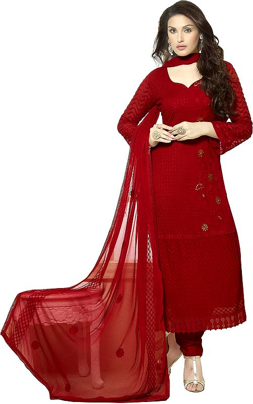 Rococco-Red Ari Embroidered Long Choodidaar Kameez Suit with Sequins and Crochet Border
