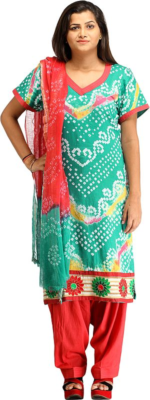 Green and Red Bandhani Tie-Dye Salwar Kameez Suit from Gujarat with Embroidered Flowers Patch Border