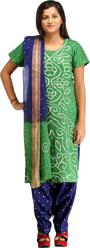Green and Blue Bandhani Tie-Dye Salwar Kameez Suit from Gujarat