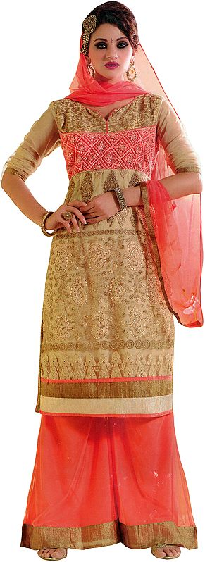 Beige and Peach-Amber Palazzo Salwar Suit with Zari-Embroidery and Crystals