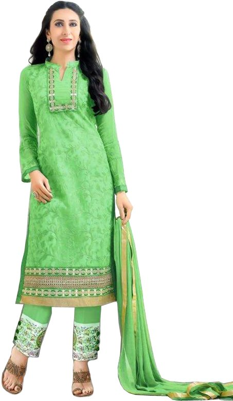 Absinthe-Green Karishma Trouser Salwar Kameez Suit with Ari-Embroidery All-Over