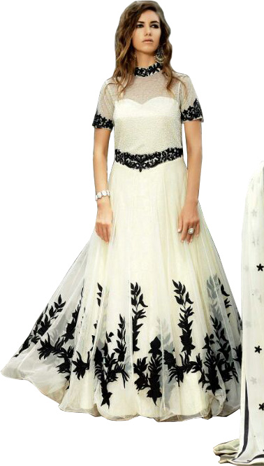 White and Black Designer Gown with Floral-Embroidery and Beads