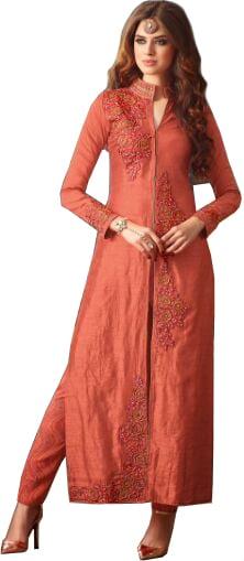 Burnt-Coral Long Designer Trouser Salwar Kameez Suit with Embroidered-Roses and Crystals