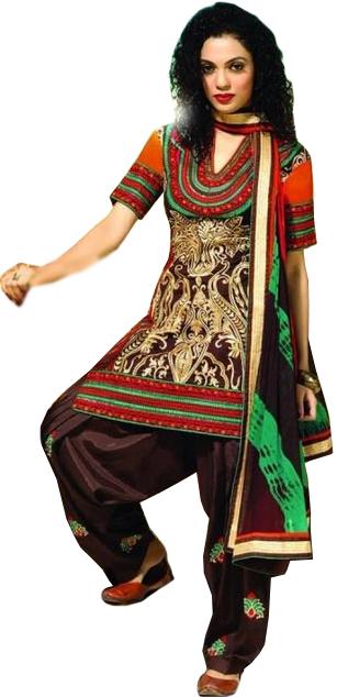 Chestnut-Brown Wedding Salwar Kameez Suit with Embroidery All-Over and Batik Print on Dupatta