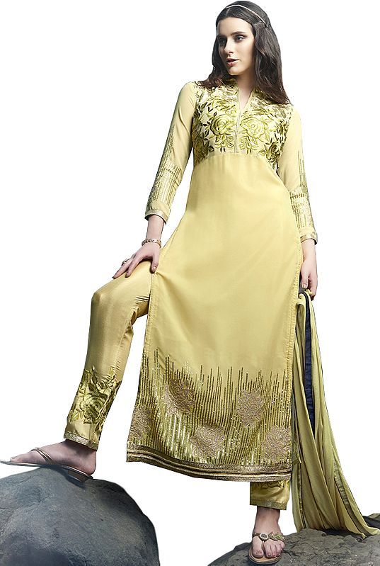 Dried-Moss Long Chudidar Kameez Suit with Embroidered Roses and Sequins