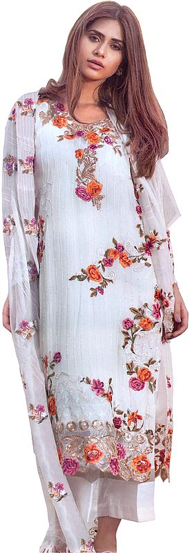 Egret-White Parallel Salwar Suit with Phulkari Embroidery