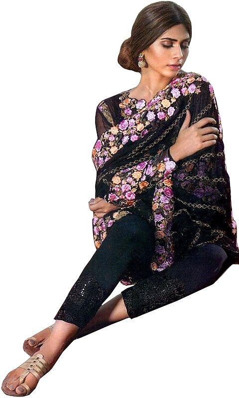 Jet-Black Parallel Salwar Suit with Phulkari Embroidery