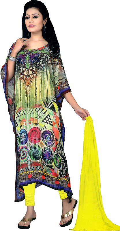 Multicolor Digital-Printed Chudidar Kaftan Suit with Stone-work on Neck