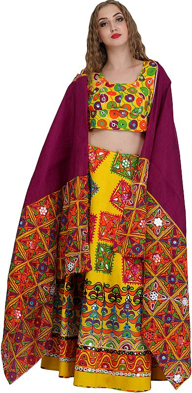 Lemon and Boysenberry Printed Lehenga Choli from Jodhpur with Embroidery and Large Sequins