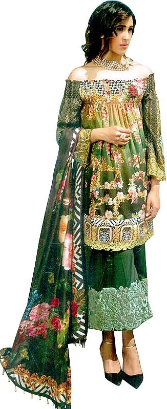 Multi-colored Floral Printed Parallel Salwar Suit with Chiffon Dupatta