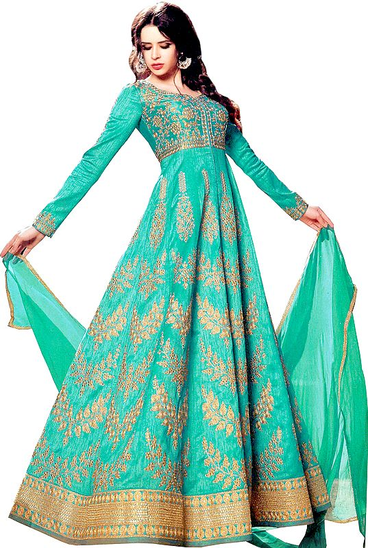 Atlantis-Green Anarkali Suit with Golden-Embroidery and Crystals