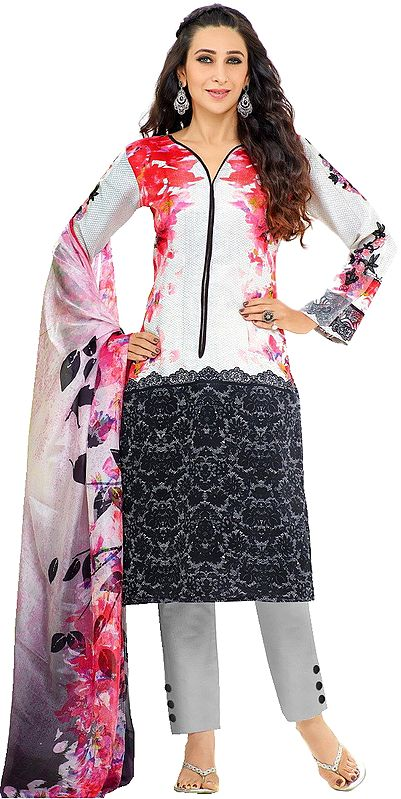 Gray and Pink Karishma Trouser Salwar Kameez Suit with Floral Print and Embroidered Patches on Sleeves