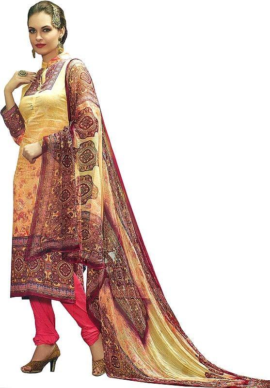 Cream and Pink Chudidar Salwar Kameez Suit with Digital-Printed Paisleys and Chiffon Dupatta