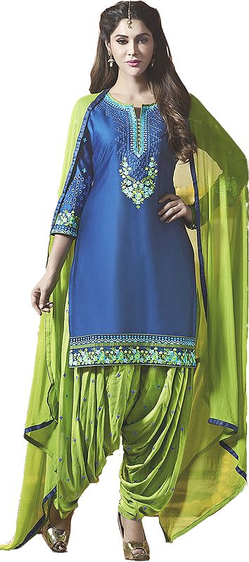 Jasmine-Green and Nautical-Blue Digital-Printed Patiala Salwar Kameez Suit with Floral Embroidery
