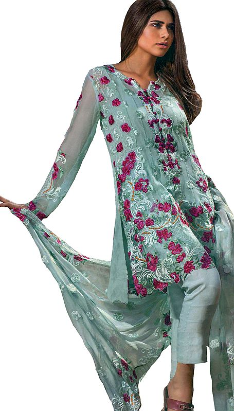 Starlight-Blue Trouser Salwar Kameez Suit with Floral Embroidery All Over