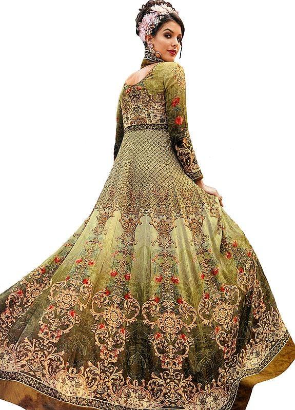 Linden-Green Designer Floor-Length Anarkali Suit with Floral Print and Crystals
