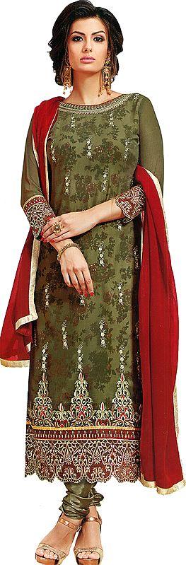 Laurel-Oak Printed Long Chudidar Salwar Kameez suit with Embroidered Floral and Bootis