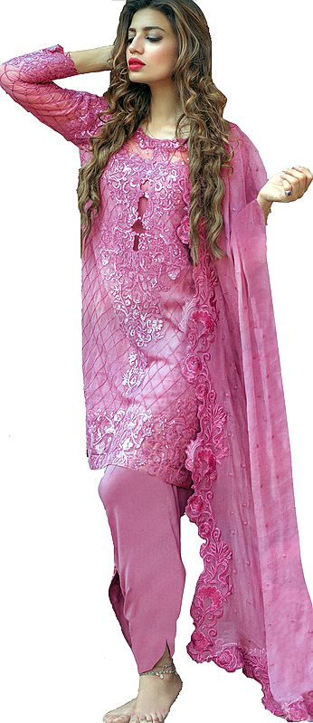 Wild-Orchid Salwar Kameez Suit with Ari Embroidery and Sequins