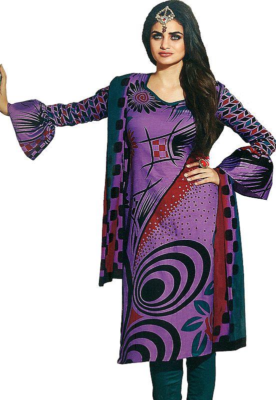 Dewberry-Purple Printed Choodidaar Salwar Kameez Suit with Chiffon Dupatta