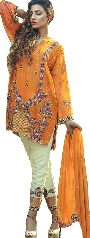Radiant-Yellow Trouser Salwar Kameez Suit with Embroidered Florals and Chiffon Dupatta