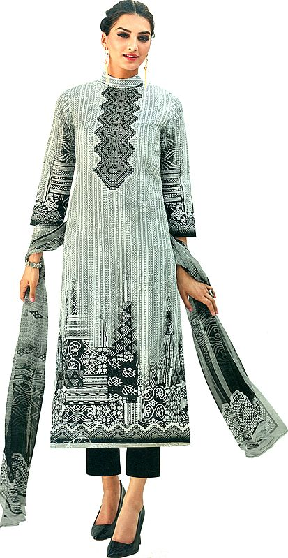 Gray and Black Trouser Salwar Kameez Suit with Digital Print and Embroidered Flowers