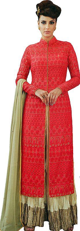 Gajjadi-Red and Beige Designer Sharara Salwar Kameez Suit with Embroidered Bootis and Florals