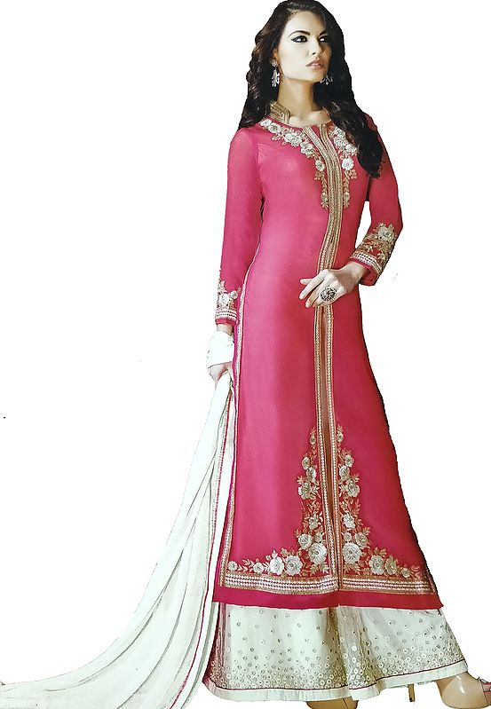 Paradise-Pink and Beige Designer Palazzo Salwar Kameez Suit with Embroidered Florals and Crystals
