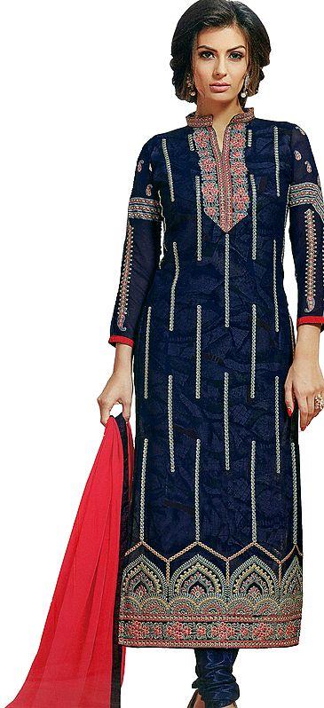 Deep-Cobalt Printed Long Choodidaar Salwar Kameez suit with Embroidered Floral Bootis