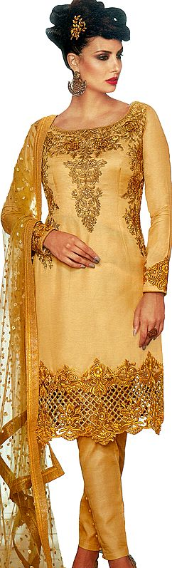 Reed-Yellow Parallel Salwar Kameez Suit with Zari Embroidered Florals and Crystals All-Over