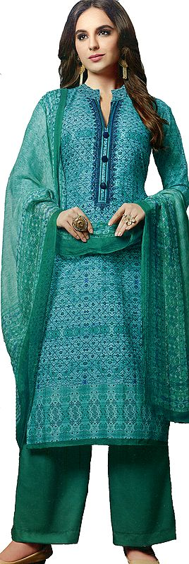 Bright-Aqua Long Printed Palazzo Salwar Kameez Suit with Embroidery on Neck and Mirrors