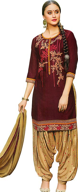 Apple-Butter Patiala Salwar Kameez Suit with Embroidered Florals and Bootis