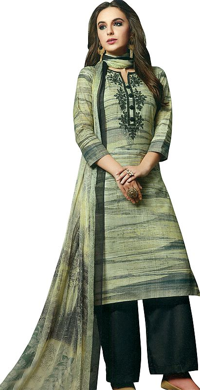 Celadon-Tint Long Printed Parallel Salwar Kameez Suit with Embroidery on Neck and Mirrors