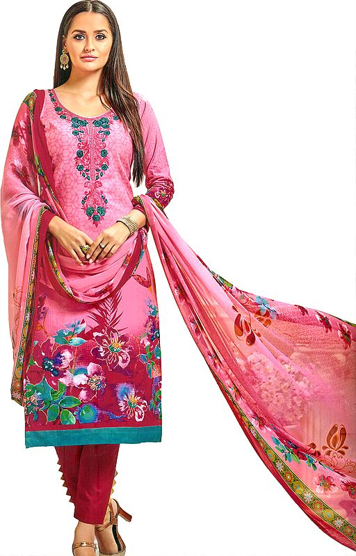 Sachet-Pink Printed Trouser Salwar Kameez Suit with Embroidered Florals on Neck