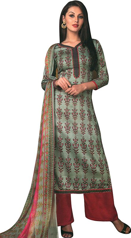 Puritan-Gray Printed Palazzo Salwar Kameez Suit with Embroidery on Neck and Chiffon Dupatta