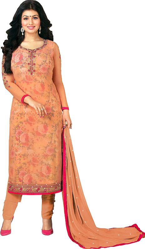 Peach Ayesha Long Choodidar Kameez Suit with Embroidered Flowers and Crystals