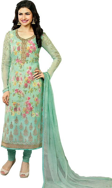 Brook-Green Prachi Long Choodidaar Kameez Suit with Floral Lining and Zari-Embroidery