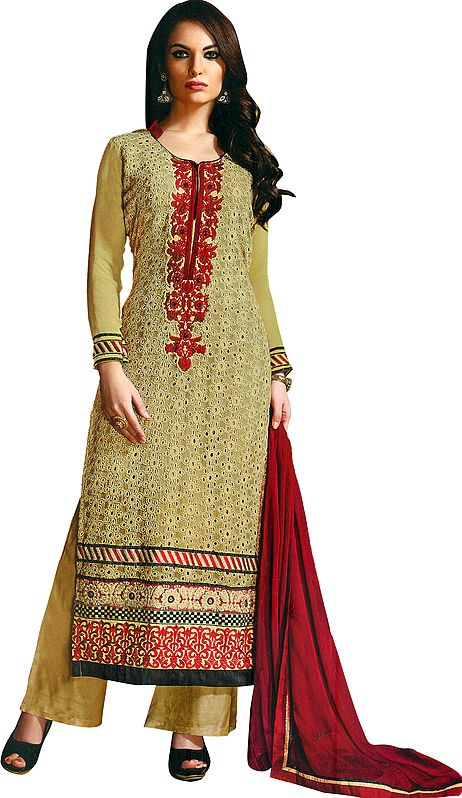 Fall-Leaf Long Palazzo Salwar Kameez Suit with Ari-Embroidery and Crystals