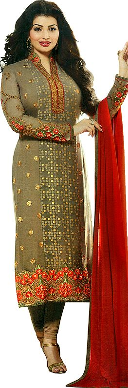 Almondine Ayesha Long Choodidar Kameez Suit with Embroidered Flowers and Woven Bootis All-Over