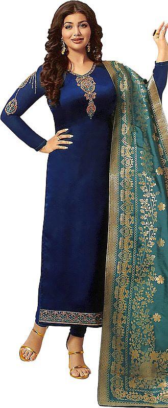 Lyons-Blue Ayesha Long Choodidaar Salwar Kameez Suit with Zari-Embroidery and Green Woven Dupatta