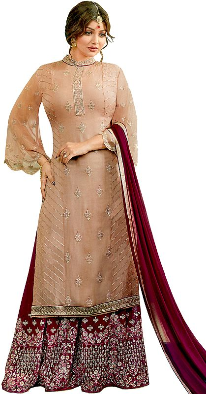 Toasted-Almond Ayesha Pakistani Salwar Kameez Suit with Zari-Embroidery and Crystals