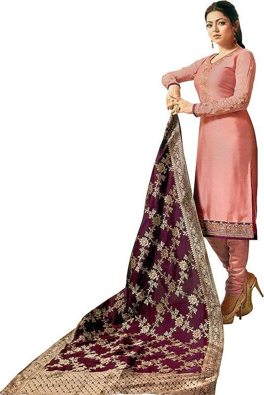 Brandied-Apricot Drashti Choodidaar Salwar Kameez Suit with Zari-Embroidered Florals and Crystals