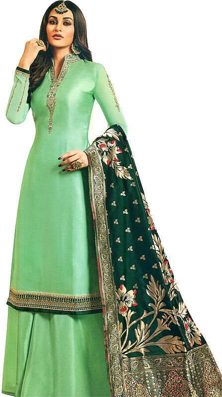 Nile-Green Flared-Palazzo Salwar Suit with Zari Embroidery and Brocaded Dupatta