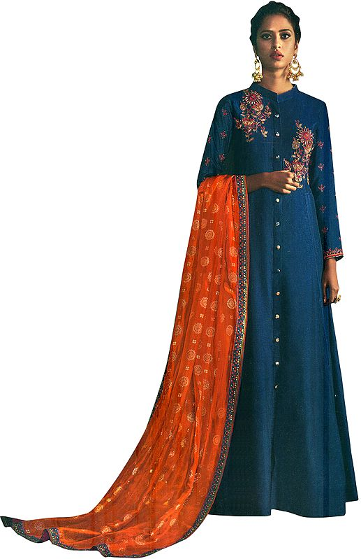 Twilight-Blue Floor-Length A-Line Suit with Floral Ari Embroidery and Printed Orange Dupatta