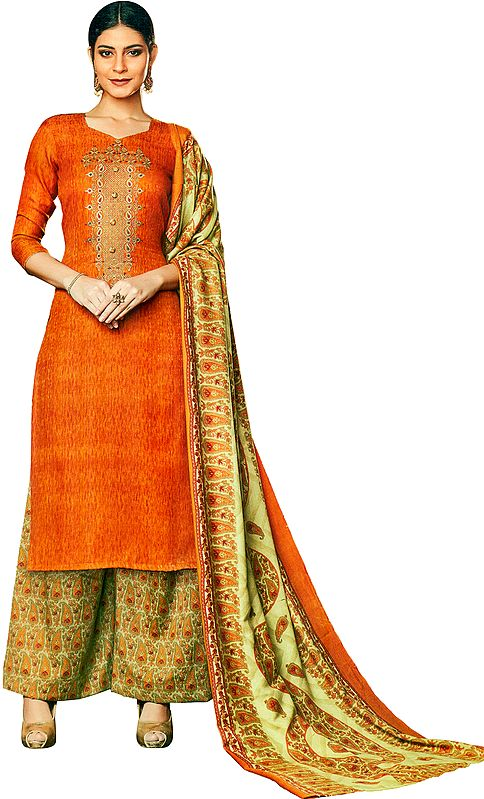 Burnt-Orange Palazzo Salwar Suit with Embroidered Bootis on Neck and Printed Beige Dupatta