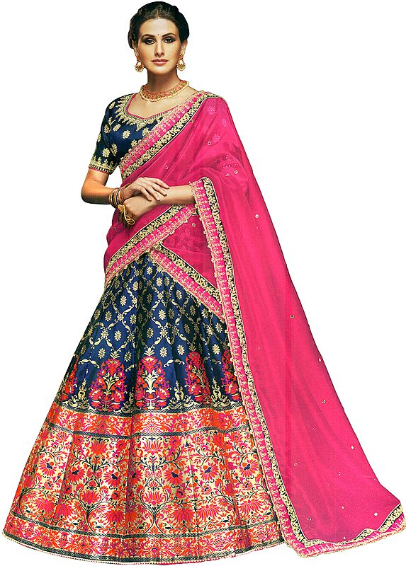 Blue-Ribbon Brocaded Lehenga in Multicolor Thread Weaving with Embroidered Choli and Pink Dupatta